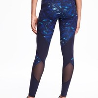 Go-Dry High-Rise Mesh-Panel Compression Tights for Women | Old Navy