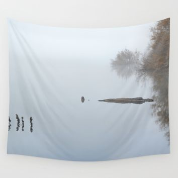 """Looking At The End..."" Foggy sunrise at the lake Wall Tapestry by Guido Montañés"