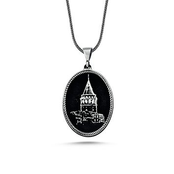 Galata tower pendant 925k sterling silver necklaces with chain