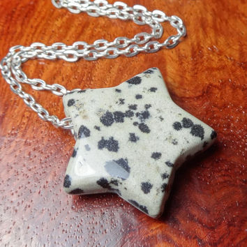 Star Necklace - Dalamtian Jasper Gemstone Carved Pendant (F6A) Polished Crystal Raw Natural Stones Handmade Stars Gemstones Cute Charms