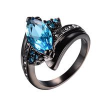 Cute Horse Eye Shape Lake Blue Stone Rings for Women Men Wedding Band 10KT Black Gold Filled Clear CZ Engagement Ring RB0584