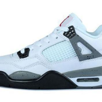 Hot Air Jordans 4 Retro Women Shoes White Black Grey