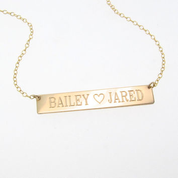 14/20 Gold Filled Nameplate Necklace, Gold Bar Necklace, Engraved, Personalized Name Plate As Seen on Kim Kardashian