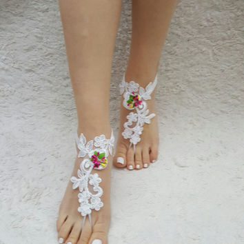 White or ivory lace barefoot sandals, Beach wedding shoes, barefoot sandals, beach wedding barefoot sandals, Elegant brides, Free ship