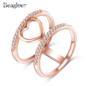 Beagloer Two-Tone Connected Rose Gold/Silver Color Love Heart Wedding Ring Promise Anillos CRI1035