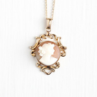 Vintage 12k Rosy Yellow Gold Filled Carved Shell Cameo Necklace - 1940s Filigree Lavalier Pendant Classic Van Dell Jewelry on 14K GF Chain