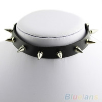Punk Spike Leather Choker Collar Necklace Silver Tone Studs EMO Metal Gothic = 1932456260