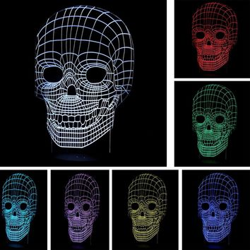 Skull Head 3D LED USB Lamp Decoration Colors Changing Bulb