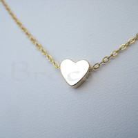 Gold heart necklace, Tiny Gold Heart, tiny gold heart pendant, small dainty petite simple modern minimalist, gold necklace