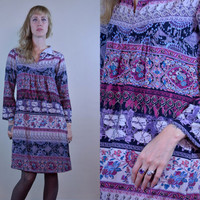 Vintage 70's Indian Rayon Hand Blocked Bohemian Hippie Dress