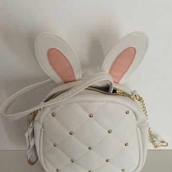Disney Parks Alice in Wonderland White Rabbit Crossbody Bag New with Tags