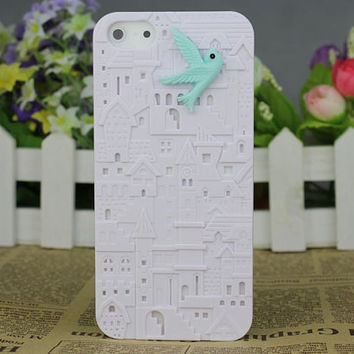 White European Style Building With Resin Bird Hard Cover for Apple iPhone5 Case, iPhone 5 Cover,iPhone 5 Case, iPhone 5g