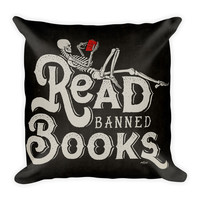 Read Banned Books Square Pillow