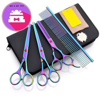 Purple Dragon 6.5 inch Dog Grooming Scissors Set Safety Rounded Tips Micro Hair Cutting Clippers Tools Pet Salon Shears Dog