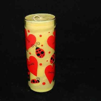 Golden Rose Scented Candle in Tall Glass with Red Hearts and Lady Bugs