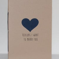 Reasons I Want To Marry You Booklet With Handpainted Heart