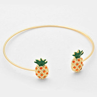 Delicate Pineapple Wire Gold Cuff Bangle Bracelet