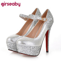 Spring Autumn Platforms Buckle Glitter Sequined Rount Toe Cloth Silver Gold Wedding Fashion Women shoes Heel height 14cm