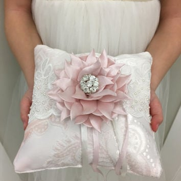 Ring Bearer Pillow, Light Pink Wedding Ring Pillow, Velvet Pillow, French Lace Wedding Pillow, Damask Wedding Decoration, White Wedding Lace