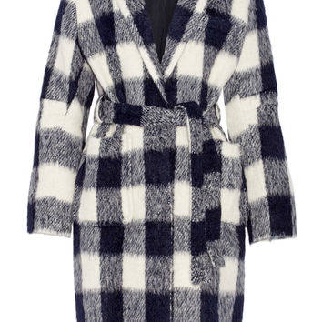 SEA - Belted gingham knitted coat