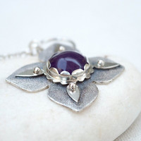 Amethyst necklace, Amethyst pendant, Amethyst sterling silver necklace pendant, Unique pendant, Handmade silver necklace, Artisan jewelry