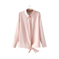 Women bow tie pink office shirts elegent long sleeve business work wear blouse European fashion casual plus size tops LT817