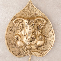 Brass Ganesh Bodhi Leaf Wall Hanging