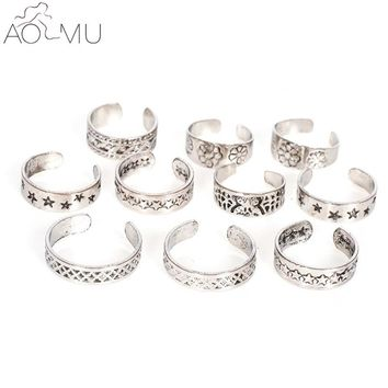 AOMU Punk Style Sexy Carved Heart Star Toe Ring Sets for Women Man Boho Vintage Fashion Anillos Beach Foot Jewelry