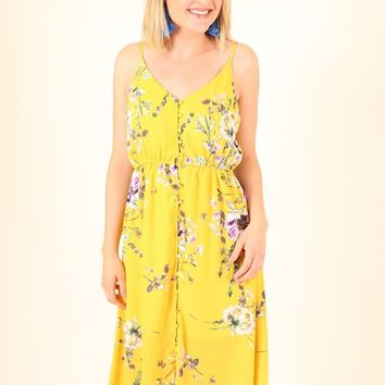 WIDE EYED DRESS- YELLOW FLORAL
