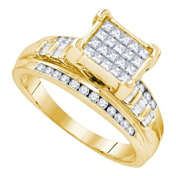 Yellow-tone Sterling Silver Women's Princess Diamond Square Cluster Bridal Wedding Engagement Ring 1.00 Cttw