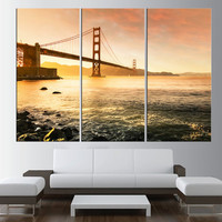 Golden Gate Bridge in San Francisco Skyline wall art, extra large wall art print canvas, gallery art, San Francisco sunset canvas print t373