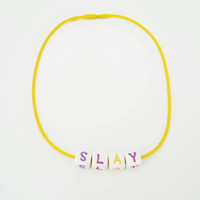 Slay Necklace, Fun Word Necklace Choker, 90's Style Choker, Yellow Slay Block Letter Necklace, Hipster Chokers, Cool Accessories