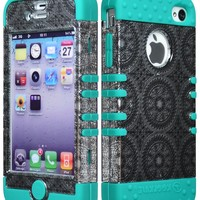 Bastex Hybrid Tuff Case for Apple iPhone 4, 4s- Teal Blue Silicone with Silver Circle Design Shell