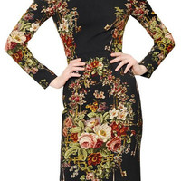 Black Vintage Floral Long Sleeve Midi Dress
