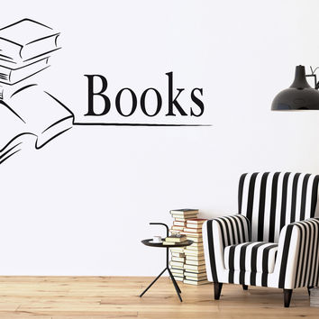 Vinyl Decal Books Library Bookstore Bookworm School Wall Stickers (ig2644)