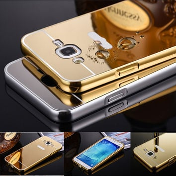 For Samsung Galaxy J5 J7 J500 J700 2015 Phone Case Luxury Aluminum Frame + Mirror Acrylic Back Cover