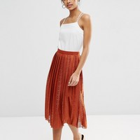 ASOS Pleated Lace Midi Skirt at asos.com