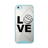 Shawnex Volleyball Love Heart Volleyball Player Aqua Plastic iPhone 5 & 5S Case - Fits iPhone 5 & 5S
