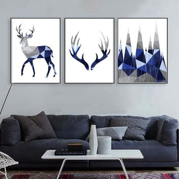 3PCS Nordic Geometric Stag Deer Painting Forest Wall Art Home Picture Print Poster Decoration No Frame
