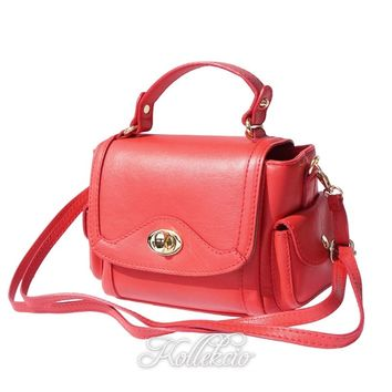 Small Italian Genuine Leather Red Handbag with Shoulder Strap
