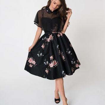 Unique Vintage 1940s Black Floral Brushed Cotton Luna Swing Dress & Mesh Capelet