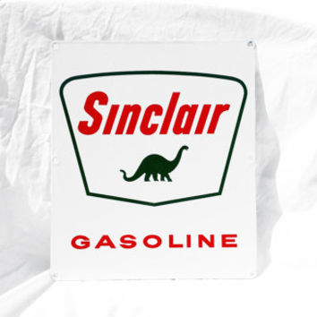 Vintage Sign, Porcelain Sinclair Dino Gas Station Pump Sign; Industrial Decor
