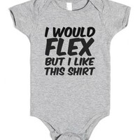 Buff Baby Funny Muscles Shirt-Unisex Heather Grey Baby Onesuit 00