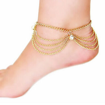 Women Summer Sandy Beach Charms Tassel Crystal Gold Plated Anklet Toe Ankle Bracelet Chain Hot Foot jewelry Gifts
