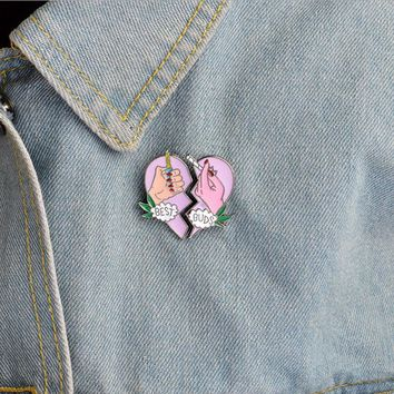 Trendy 2 pcs/pair best buds heart metal badge brooch button pins denim jacket pin jewelry decoration badge for clothes lapel pins AT_94_13