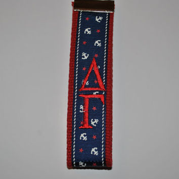 Anchor Ribbon Sorority Keychain(OFFICIAL LICENSED PRODUCTS) Monogrammed Key Fob Keychain Cotton Webbing Wristlet