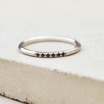 Petite Stacking Ring - Silver + Black