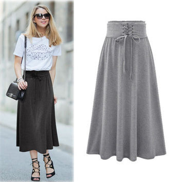 Lace Up Elastic Solid Pleated Long Skirt
