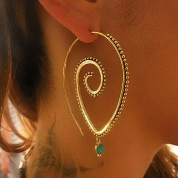 Bohemian Style Swirl Hoop Earring For Women Gold Color Big Circle Earring Vintage Crystal Party Accessories Ethnic Jewelry