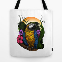 Tropical Parrot Tote Bag by Adamzworld